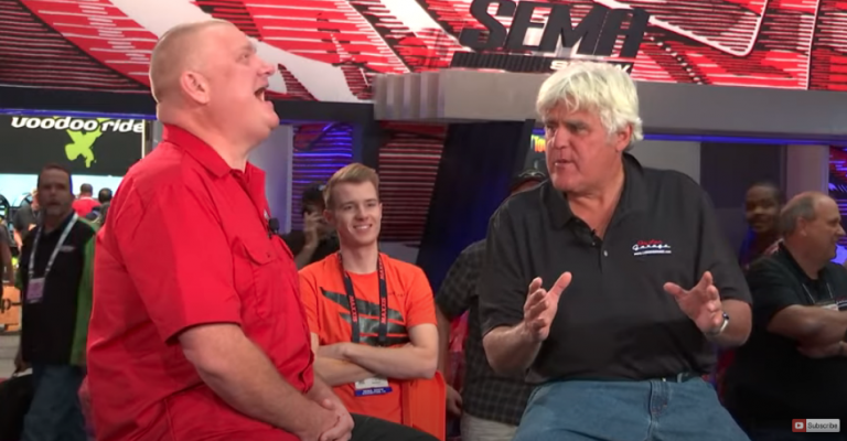 V8 Speed and Resto Shop's Kevin Oeste Chats With Jay Leno at the 2018 SEMA Show in Las Vegas
