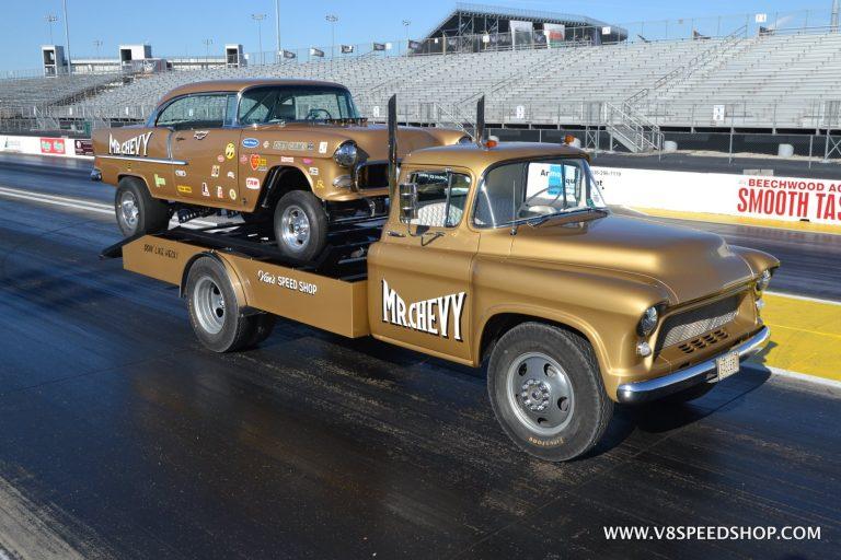 1955 Chevrolet Flatbed Mr. Chevy Hauler Restoration at V8 Speed and Resto Shop