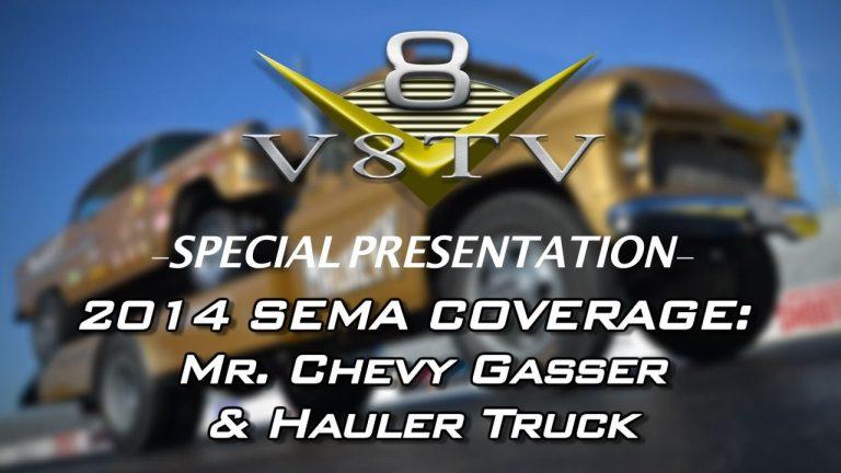 1955 Chevy Gasser Mr. Chevy and Hauler at SEMA 2014 V8TV Video